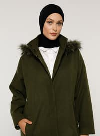 Khaki - Fully Lined - Polo neck - Acrylic - Coat