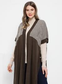 Brown - Stripe - Geometric - Acrylic -  - Plus Size Cardigan