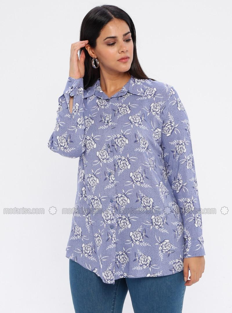 Blue - Point Collar - Viscose - Plus Size Tunic