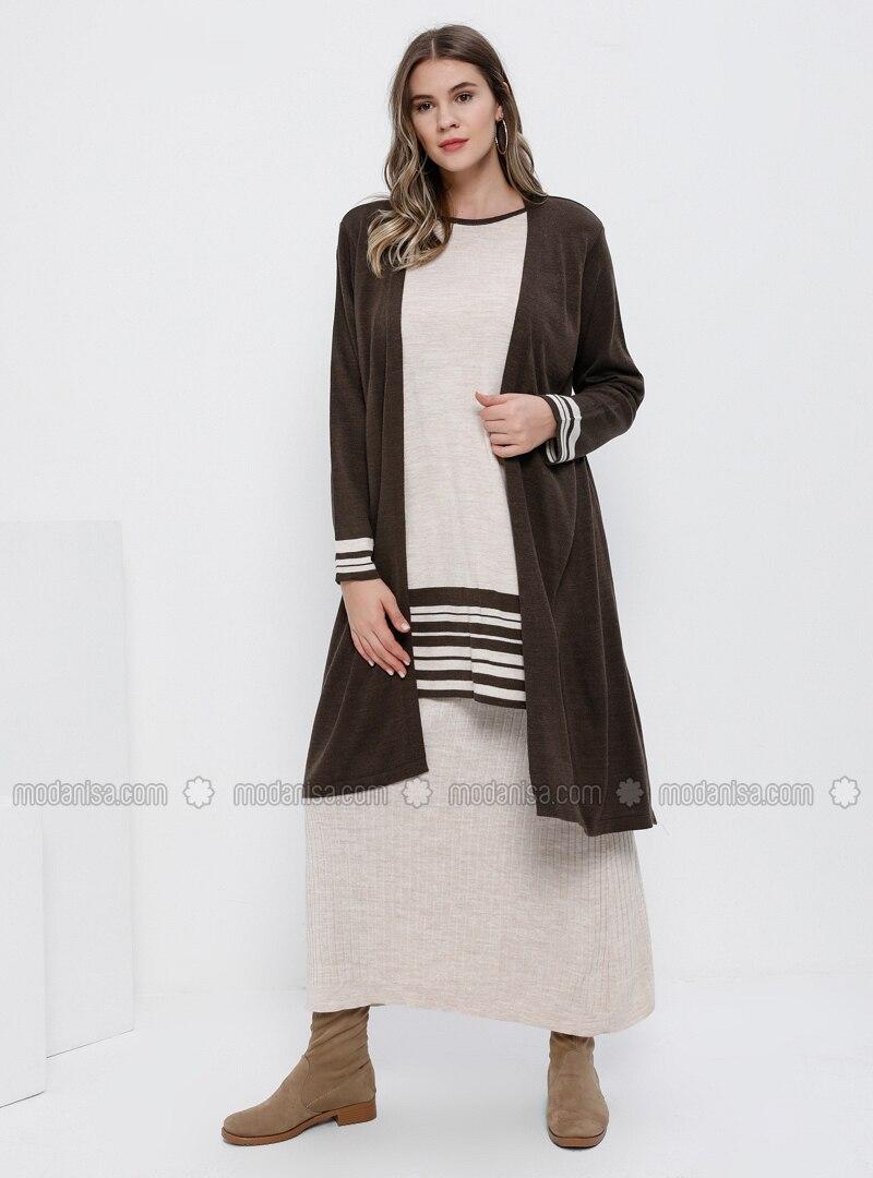 Brown - Crew neck - Unlined - Acrylic - Plus Size Suit