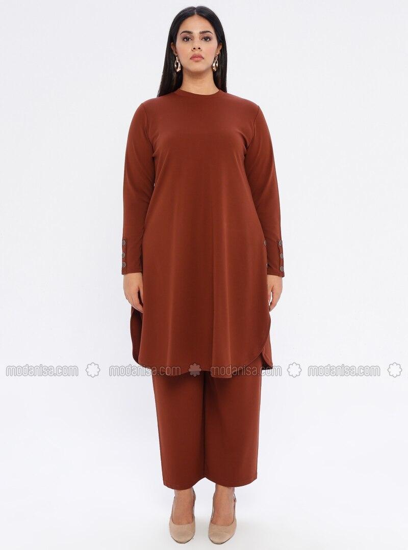 Tan - Crew neck - Unlined - Plus Size Suit