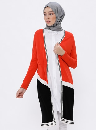 Orange - Shawl Collar -  - Viscose - Cardigan