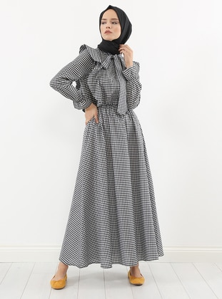 Black - Checkered -  - Dress