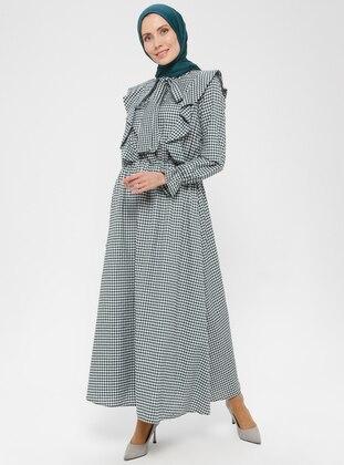Green - Checkered -  - Dress