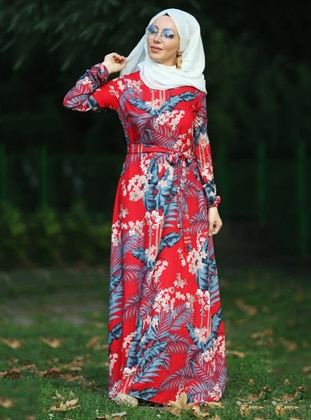 Red - Floral - Crew neck - Unlined - Viscose - Dress