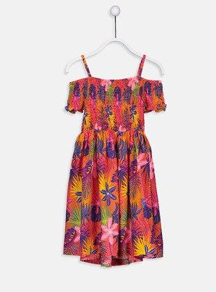 Printed - Orange - Girls` Dress