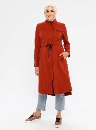 Terra Cotta - Fully Lined - Button Collar - Coat