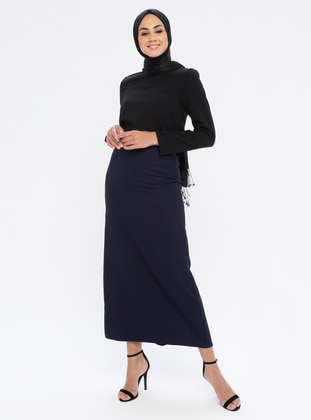 Navy Blue - Half Lined - Viscose - Skirt