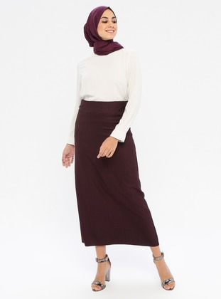 Plum - Half Lined - Viscose - Skirt