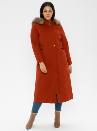 Terra Cotta - Fully Lined -  - Plus Size Overcoat - Nihan