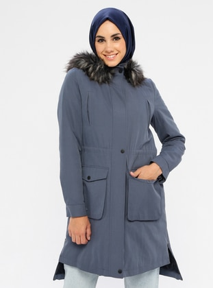 Blue - Fully Lined - Polo neck - Cotton - Coat