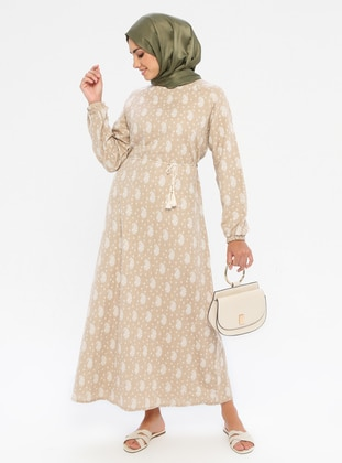 Beige - Multi - Crew neck - Unlined -  - Dress