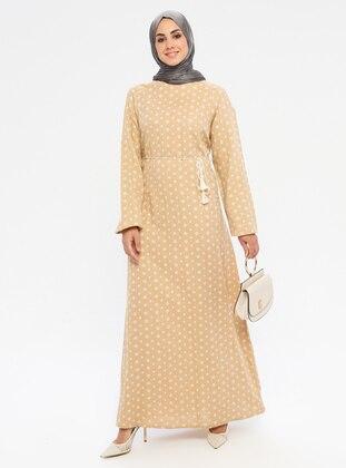 Beige - Multi - Crew neck - Unlined -  - Dress