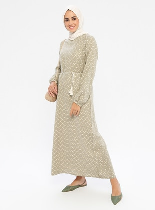 Khaki - Multi - Crew neck - Unlined -  - Dress