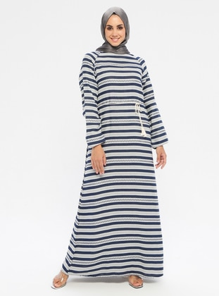 Navy Blue - Multi - Crew neck - Unlined -  - Dress