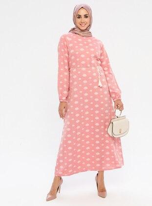 Pink - Multi - Crew neck - Unlined -  - Dress