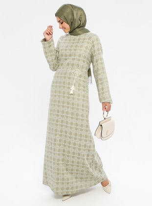 Olive Green - Green - Multi - Crew neck - Unlined -  - Dress