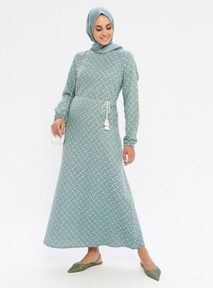 Blue - Green - Multi - Crew neck - Unlined -  - Dress