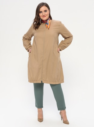 Mustard - Crew neck - Unlined -  - Plus Size Abaya