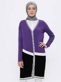 Purple - Shawl Collar -  - Viscose - Cardigan