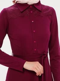 Plum - Point Collar - Unlined - Dress