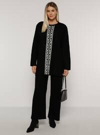 Black - Crew neck - Unlined - Acrylic -  - Plus Size Suit