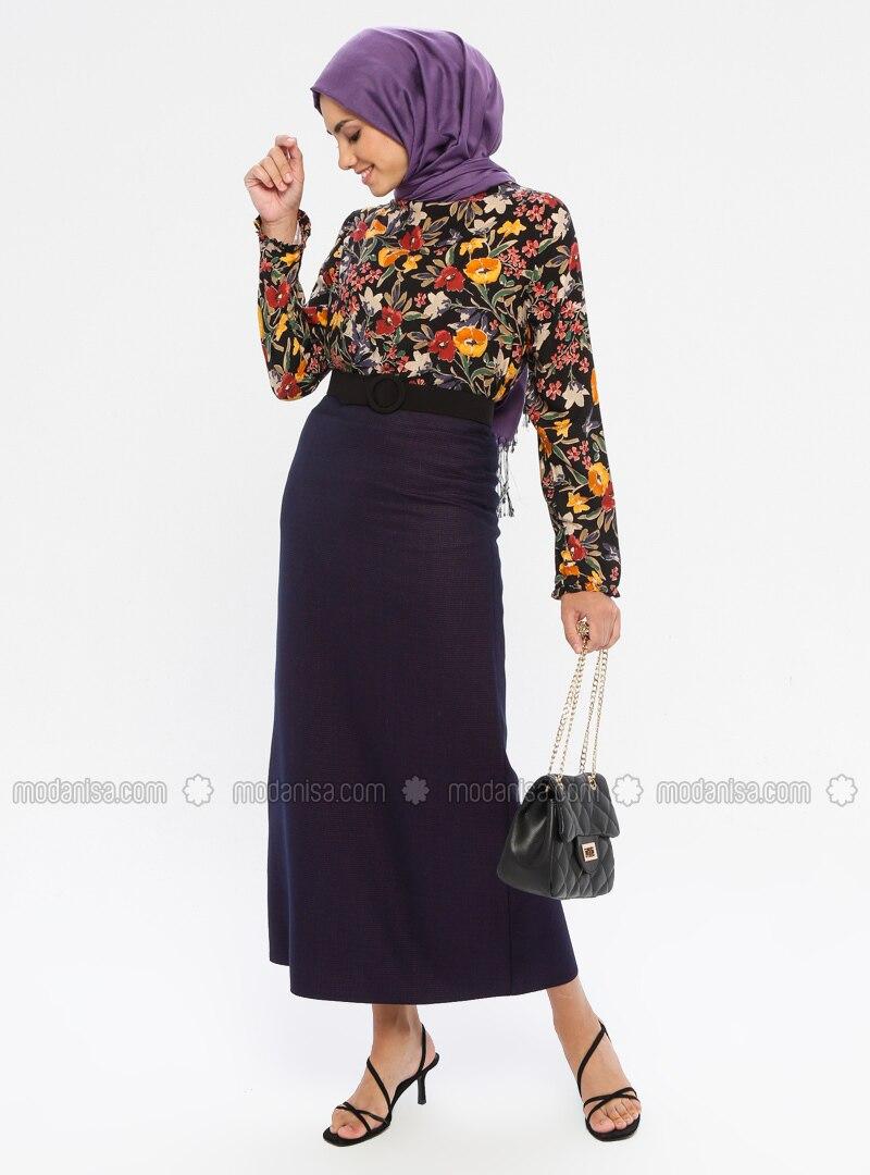 Purple - Half Lined - Viscose - Skirt