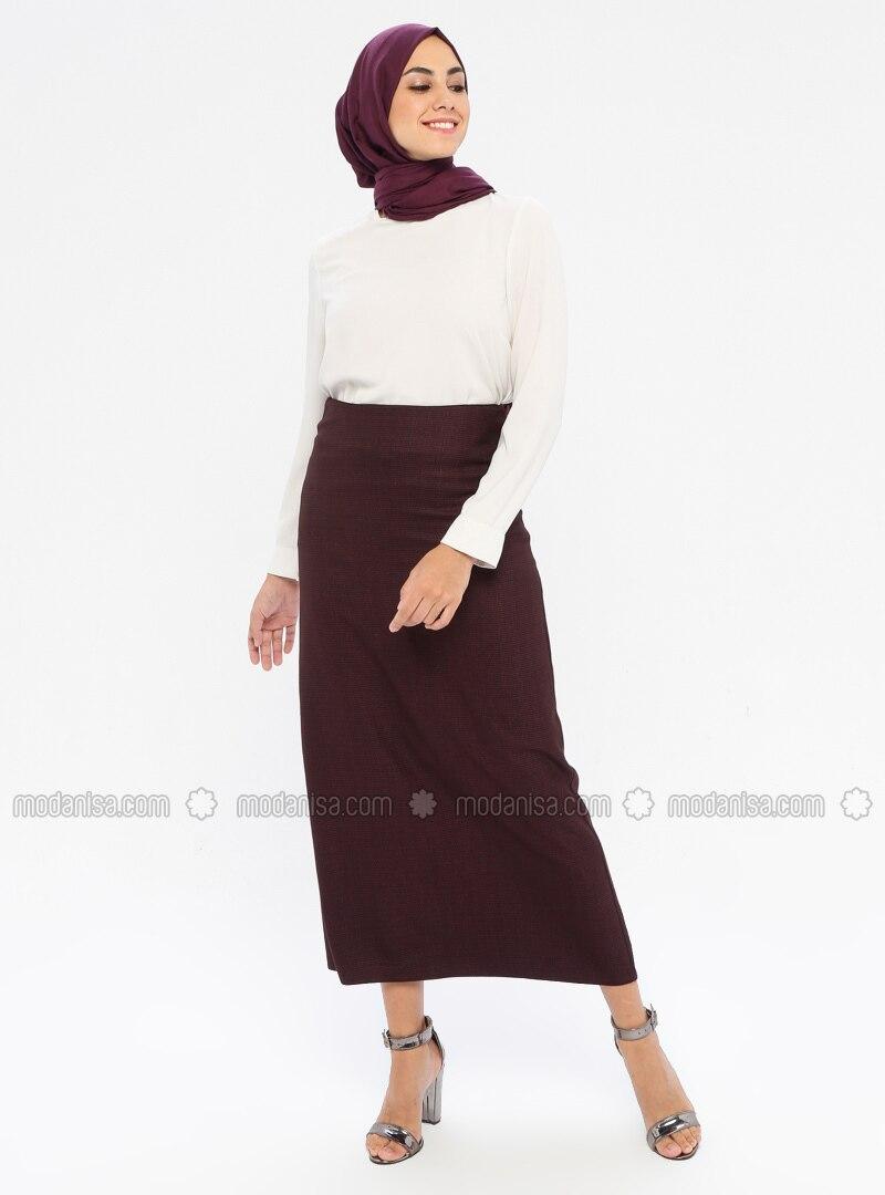 Plum - Half Lined - Viscose - Skirt