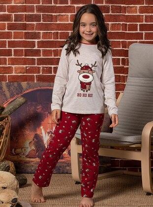 Beige - Crew neck - Multi -  - Kids Pijamas