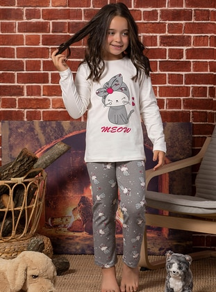 Ecru - Crew neck - Multi -  - Kids Pijamas - Elitol Premium