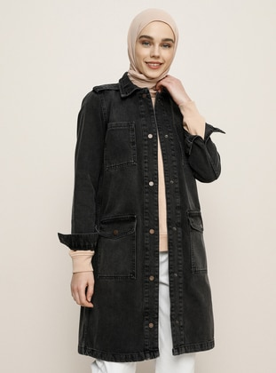 Anthracite - Unlined - Point Collar - Denim - Cotton - Jacket