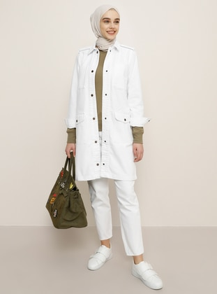 White - Ecru - Unlined - Point Collar - Denim - Cotton - Jacket - Benin