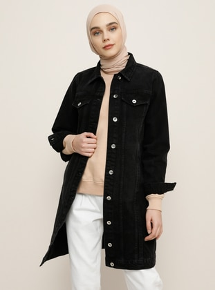 Black - Unlined - Point Collar - Denim -  - Jacket