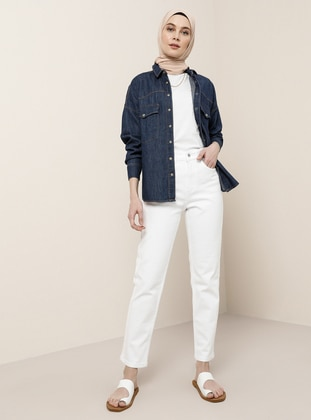 White - Denim -  - Pants