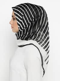 White - Black - Striped - Scarf