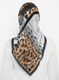 Gray - Black - Printed - Leopard - Scarf