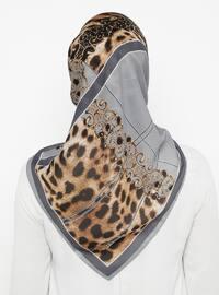 Gray - Silver tone - Printed - Leopard - Scarf