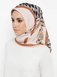 Brown - Cream - Printed - Leopard - Scarf