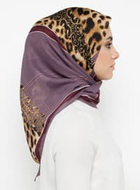Purple - Plum - Printed - Leopard - Scarf
