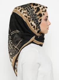 Gold - Black - Printed - Leopard - Scarf