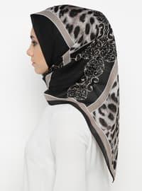 Black - Mink - Printed - Leopard - Scarf