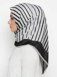 Black - Mink - Striped - Scarf