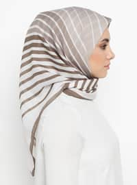 Mink - Striped - Scarf