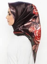 Brown - Floral - Digital Printing - Scarf