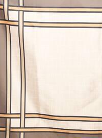 Brown - Striped - Digital Printing - Scarf