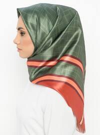 Orange - Green - Striped - Digital Printing - Scarf