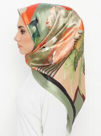 Green - Floral - Digital Printing - Scarf