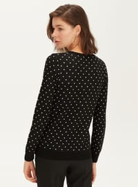 Printed - Crew neck - Black - Jumper
