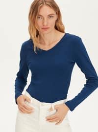 V neck Collar - Navy Blue - T-Shirt