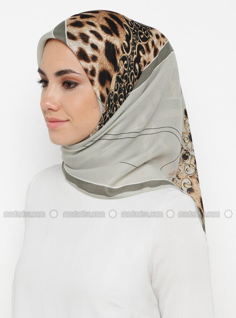 Khaki - Printed - Leopard - Scarf
